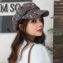 HT2753 берет, осенне-зимняя шерстяная шляпа, винтажная клетчатая Женская кепка Newsboy, женский берет, Дамская Ретро восьмиугольная кепка, женский берет, шапка