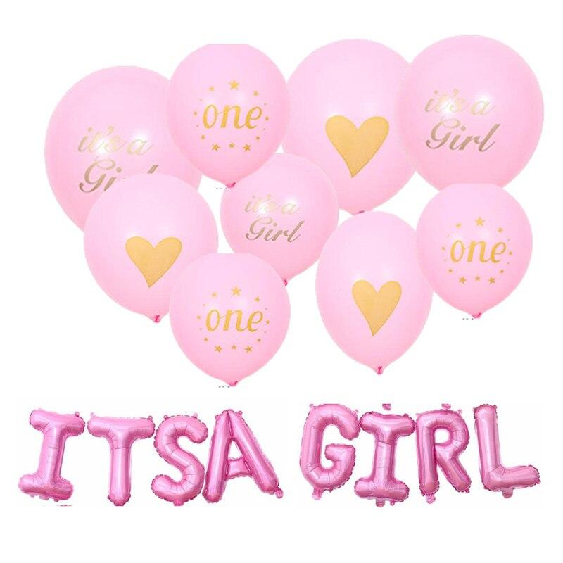 Baby Shower noworodek balonik urodzinowy banner to chłopiec to dziewczyna 1 urodziny niebieski różowy babyshower dekoracje zaopatrzenie firm