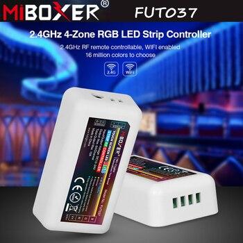 цена Miboxer FUT037 2.4G RF Wireless 4-Zone RGB LED Strip Controller for Flexible 5050 3528 RGB Led Strip Light RGB RGBW RGB+CCT CCT онлайн в 2017 году