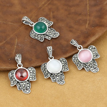 925 Sterling Silver Jewelry Retro Thai silver Women Models Popular Marcasite Inlaid Opal Small Elephant Pendant Accessories [s925] silver inlaid natural pendant ornaments medullary elephant