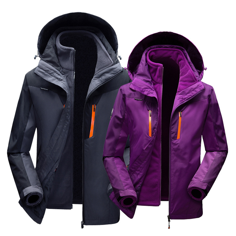 Raincoat Jacket Men's And Women's Three-in-One Mountaineering Two-Piece Fleece Liner COUPLE'S Autumn And Winter Warm Raincoat