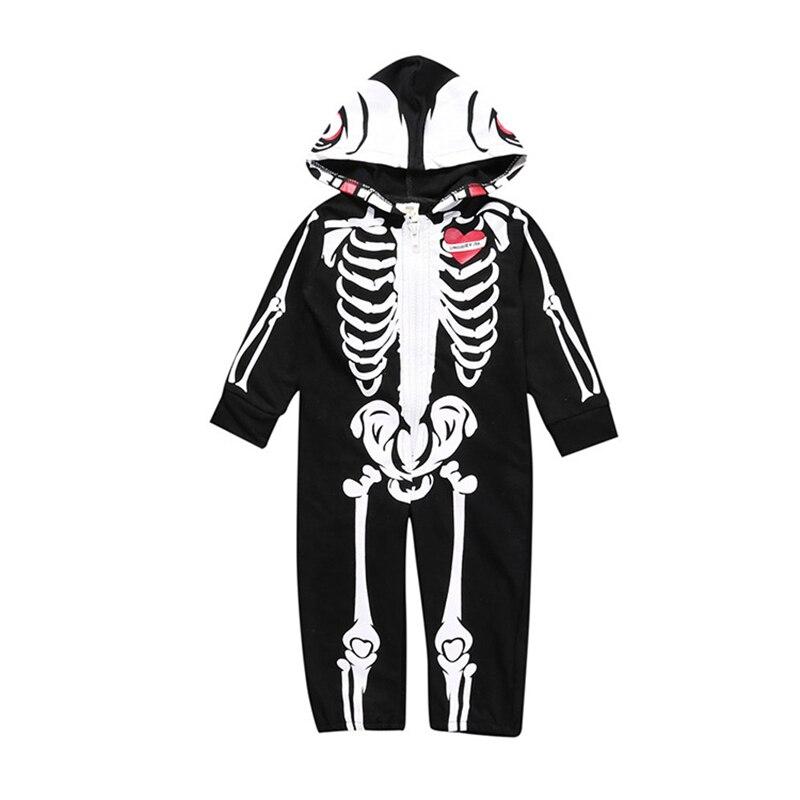 2019baby halloween costume toddler cotton baby girls boys romper unisex fashion skull zipper newborn romper jumpsuit long sleeve