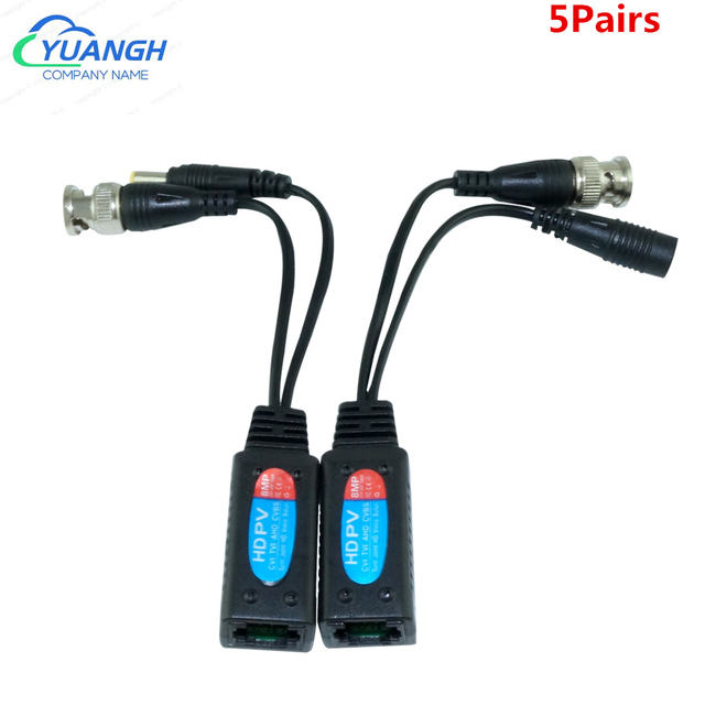 5 Pairs Video Balun bnc to rj45 Passive CCTV Coax BNC Power 8MP Balum Transceiver Connectors to RJ45