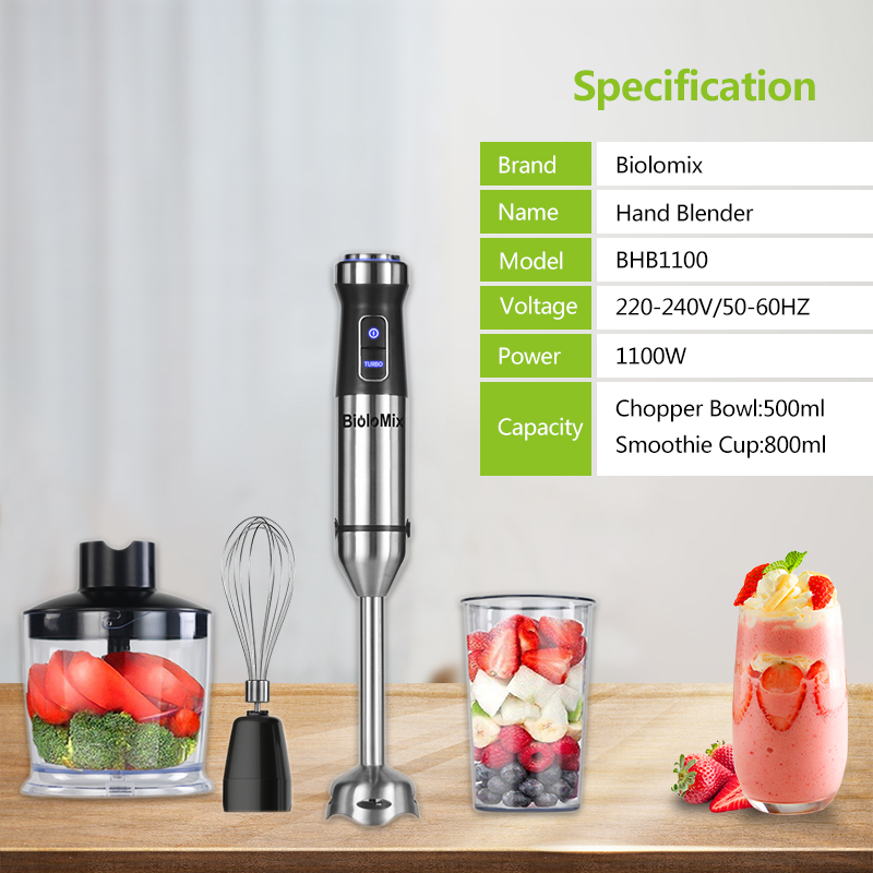 4-in-1 Stainless Steel 1100W Immersion Hand Stick Blender Mixer Vegetable Meat Grinder 500ml Chopper Whisk 800ml Smoothie Cup 5
