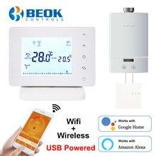 Beok BOT306RF WIFI bezprzewodowy Termostat Wifi do kocioł gazowy inteligentny Termostat regulator temperatury wsparcie Google Home Alexa