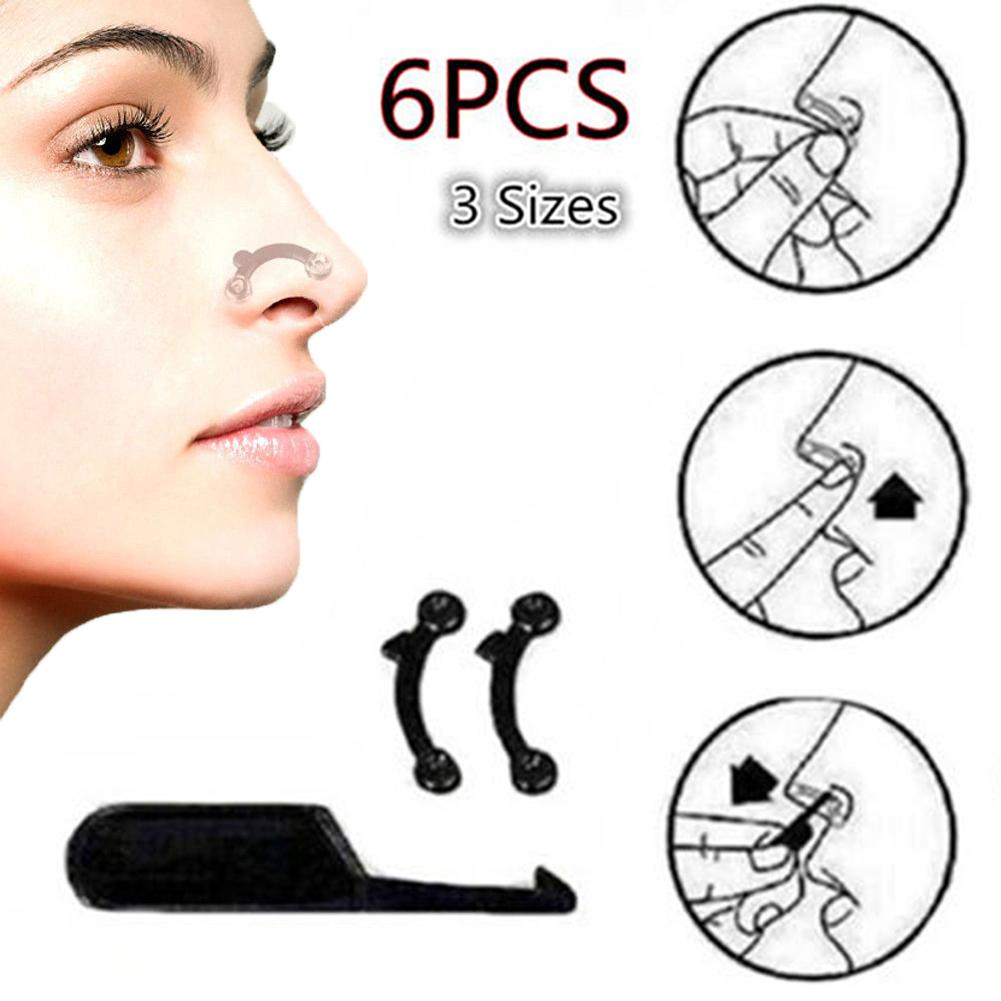 6Pcs Magic Nose Shaping Shaper 3D Beauty Nose Up Lifting Bridge Shaper Massage Tool No Pain Nose Shaping Clip Clipper For Women