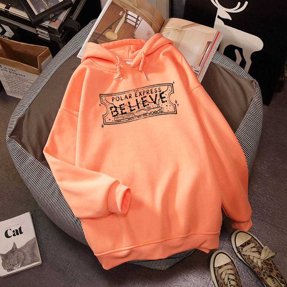 Polar Express Believe Funny Letter Print Sweatshirt Women  Fashion Plus Size Hoodies Tracksuit Coat Thick Loose Women Hoodies