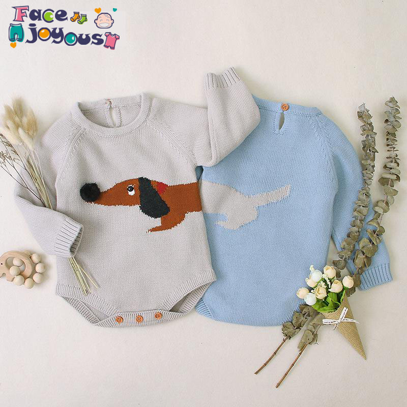 Baby Bodysuit Girl Clothes Cute Knitted 3D Dachshund Newborn Infant Jumpsuit Long Sleeve Spring Toddler Outerwear Kids Boy Wear