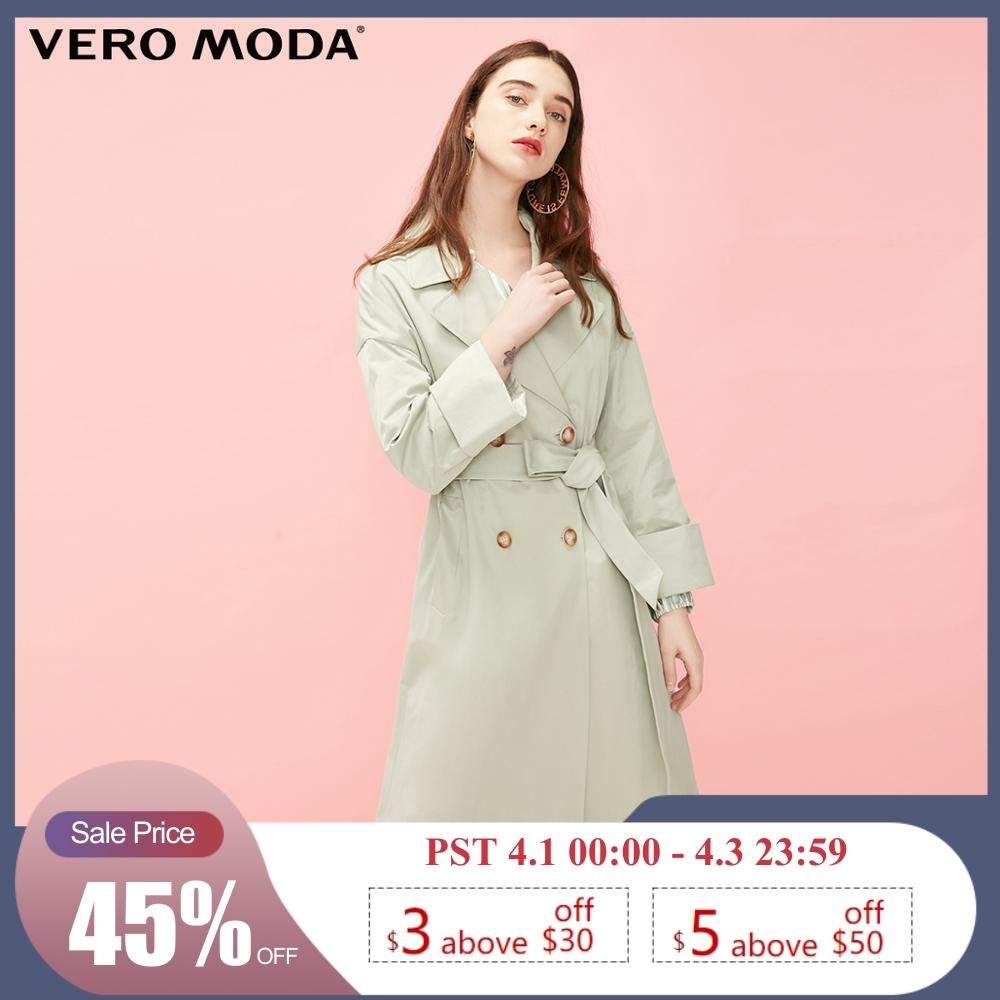 Vero Moda Women's Long Lapel Vintage Trench Coat   319121530