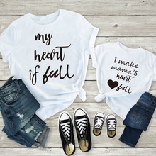Cute Mother And Daughter Family Matching Clothes Mommy And Me Tshirt Mother Daughter Son Outfits Women Mom Baby Girl Boy T Shirt basketball dad mom baby girl boy family matching outfits cotton t shirt father mother son daughter print letter mommy and me kid