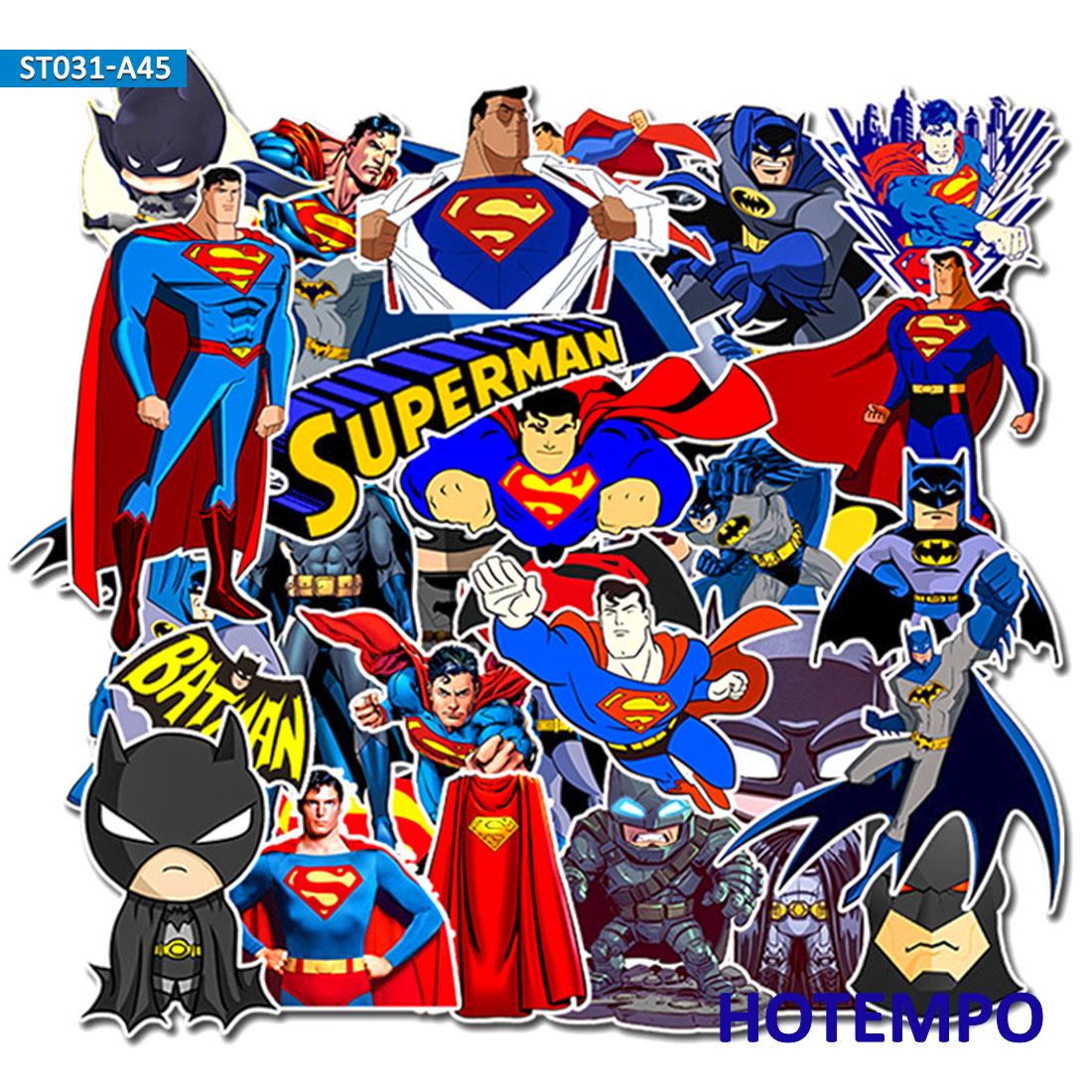 45pcs Super Hero DC Superman Batman Stickers For Mobile Phone Laptop Luggage Suitcase Guitar Skateboard Car Decal Sticker