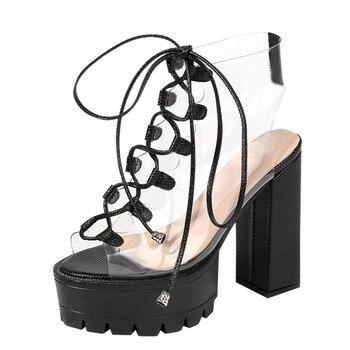 Γυναικείες πλατφόρμες round toe με διαφάνεια