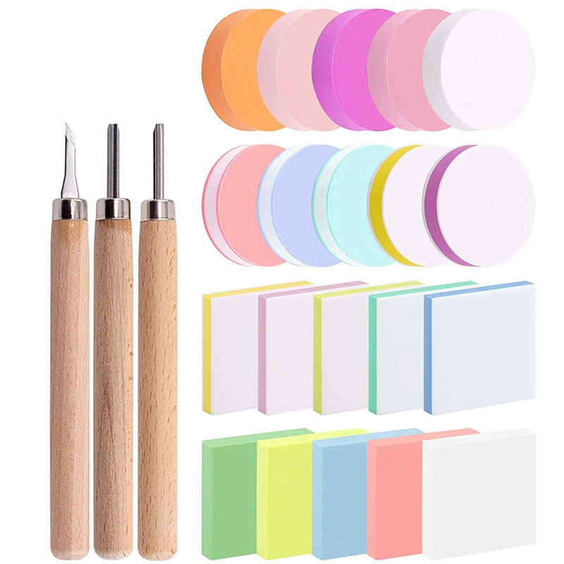 23Pcs Block Printing Starter Tool Kit,Rubber Stamps Making Set with Carving Blocks, Cutter Tools for Stamp Carving