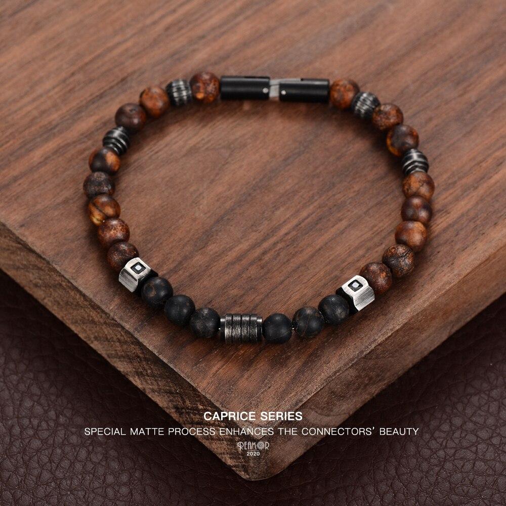REAMOR Retro Men Bracelets Bangle Weathered Onyx Natural Stone Bracelets For Women DIY Detachable Stainless Steel Chain Bracelet