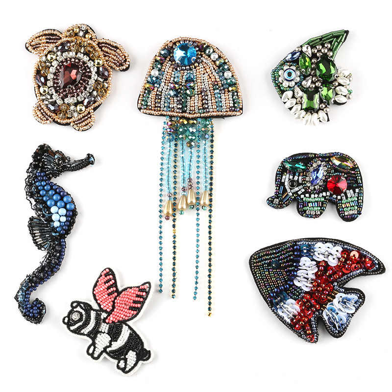 2019 New Arrival Beaded Fabric Badge 1pc Jellyfish Turtle Hippocampus Fish Patches For Clothing Coat Tshirt Sequined Applique