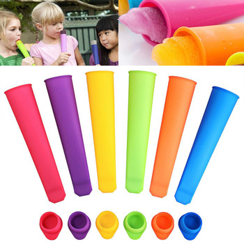 Kichen Accessories 6x Silicone Push Up Frozen Stick Ice Cream Pop Yogurt Jelly Lolly Maker Mould Popsicle Bags Molde Helado image