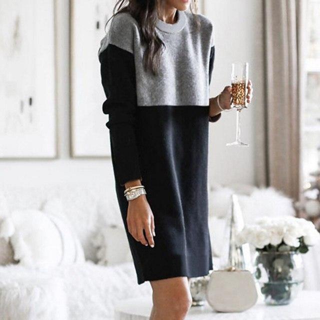 Women Autumn Dress Long Sleeve Stripe Patchwork O-neck Mini Dress Fashion Clothing Loose Casual Autumn Winter Vestido 4