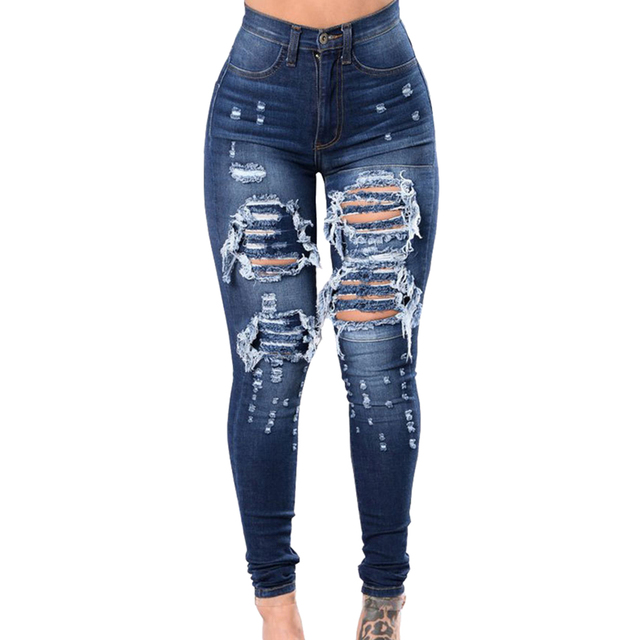 New Spring Autumn Women Blue Mid Waist Ladies Sexy Casual Ultra Stretchy Ripped Jeans Fashion Denim Trousers Pencil Skinny Jeans Uncategorized Fashion & Designs Women's Fashion