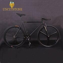 Mengikuti Sepeda Magnesium Paduan Roda 3 Jari-jari Sepeda Fixie Gigi Tetap Sepeda 700C Sepeda Roda 52 Cm Bingkai Sepeda Selesai sepeda Jalan