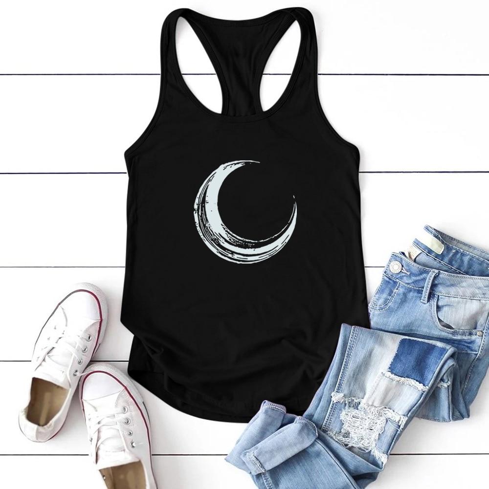 Moon Printed Tank Top Women Sleeveless Tank Tops Women Summer Loose O Neck Vest Femme Casual Plus Size Camiseta Tirantes Mujer|Tank Tops| - AliExpress