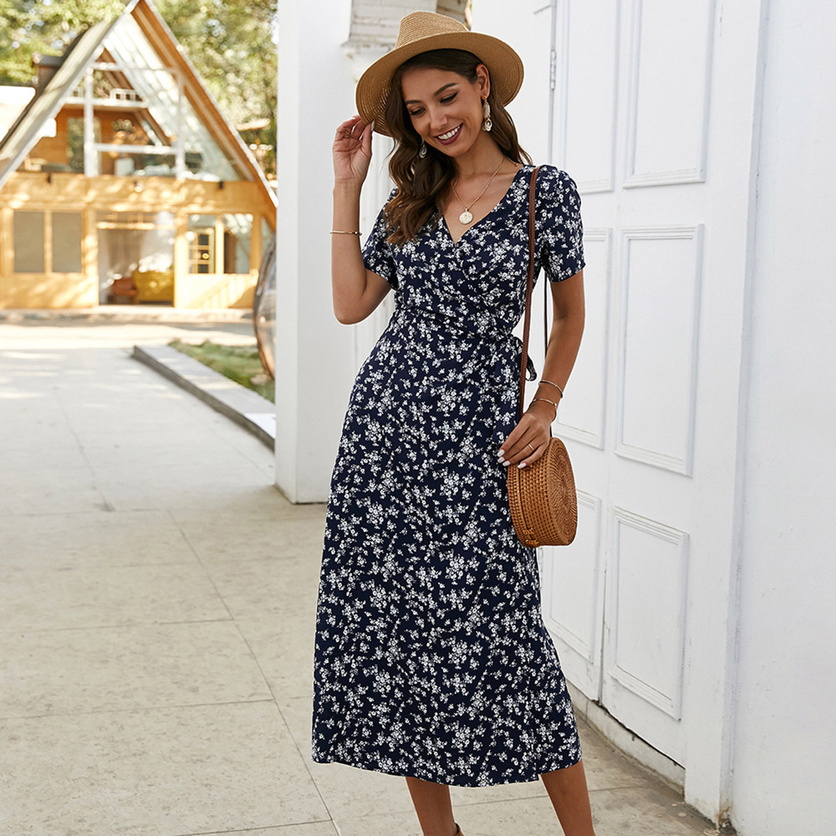 Jastie <font><b>Floral</b></font> <font><b>Printed</b></font> Midi <font><b>Dress</b></font> 2020 Summer <font><b>V</b></font> Neck <font><b>Short</b></font> Sleeve Vintage Chic Vestidos <font><b>Boho</b></font> <font><b>Beach</b></font> <font><b>Sexy</b></font> Casual Woman Wrap <font><b>Dress</b></font> image