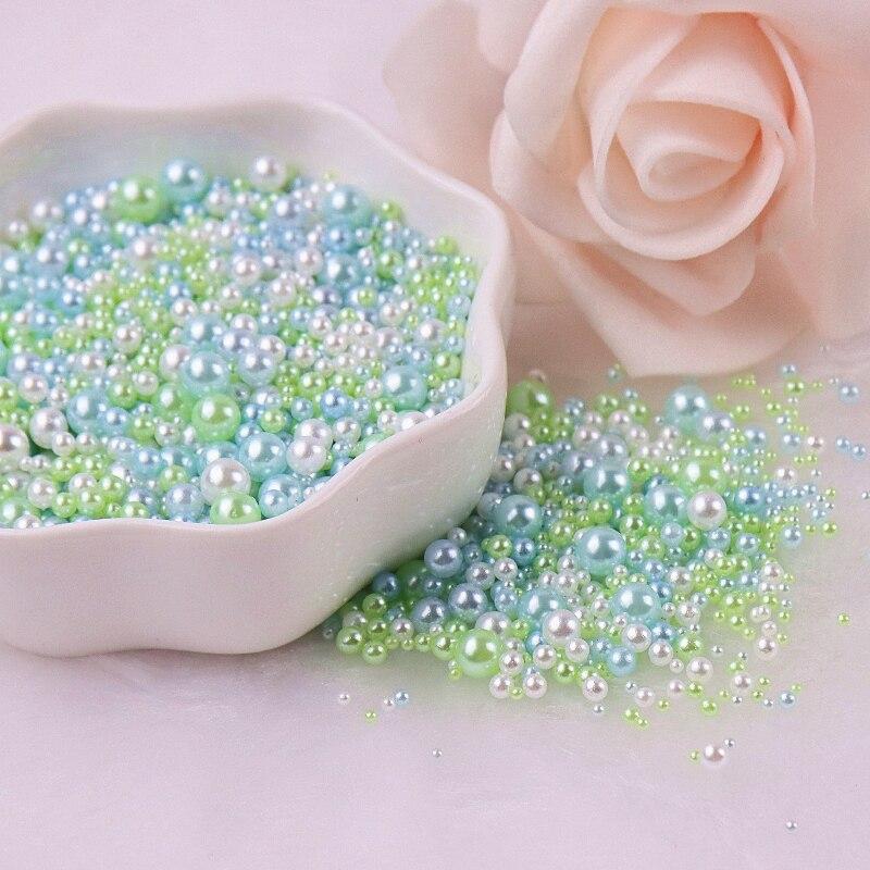Cuentas redondas de 2/3/4/5mm sin agujeros, cuentas de perlas acrílicas de imitación plana, bricolaje para fabricación de joyas, adornos para manualidades Diy 10g