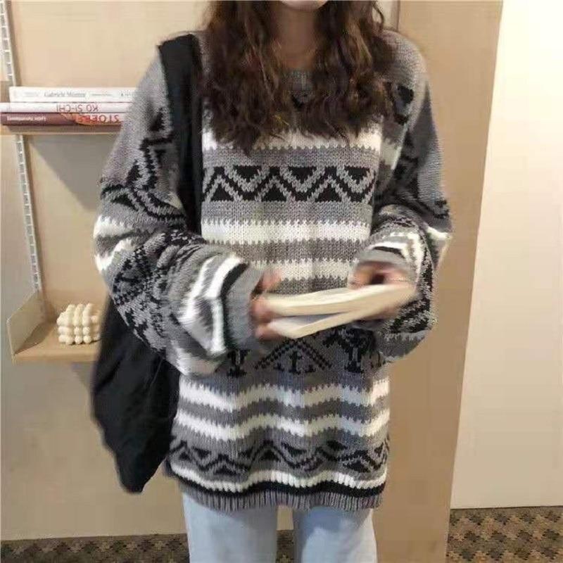 Женский винтажный свитер deeptown свободный белый с геометрическим