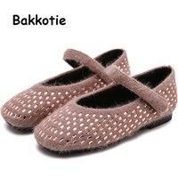 Bakkotie 2019 Winter Kids Sweet Dress Shoes Baby Girls New Rhinestone Warm Mary Jane Flats Princess Fashion Soft Fur Shoes