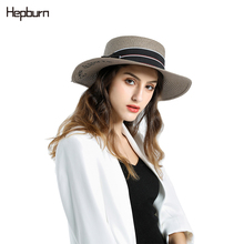 Hepburn brand 2019  Fashionable Handmade Casual Flat Brim Sun Hats Women Summer Hat Beach Straw Panama Ladies Cap