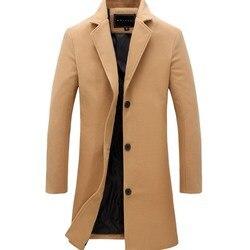 Зимнее мужское пальто, модный однотонный длинный Тренч, Мужской винтажный однобортный деловой мужской пиджак размера плюс, шерстяное пальт...