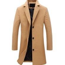 Зимнее Мужское пальто модный однотонный длинный Тренч Мужской винтажный однобортный бизнес мужские пальто плюс размер шерстяное пальто