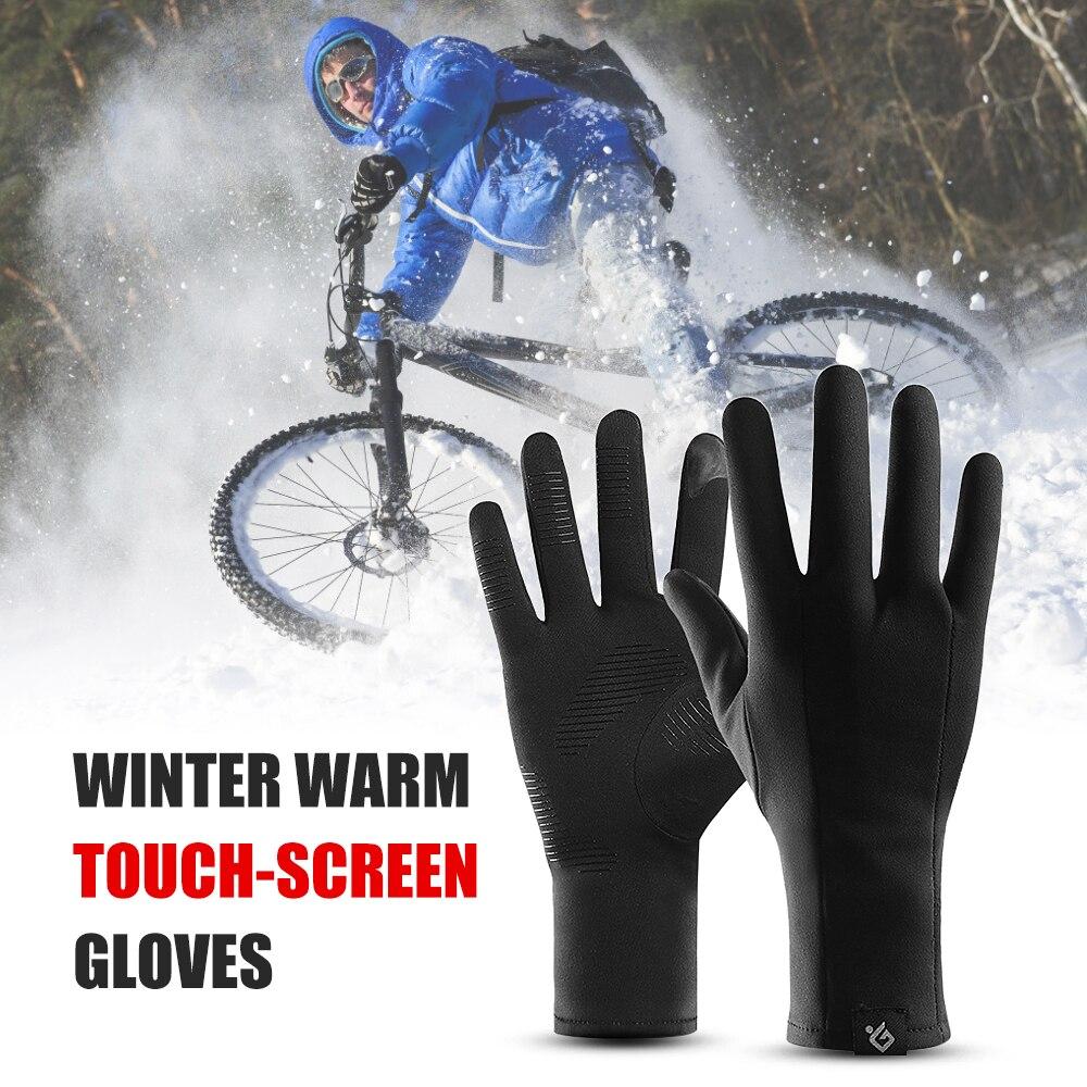 Winter Warm Gloves Men Women Touchscreen Gloves Windproof Sports Thin Polar Fleece Lining For Cycling Running Driving Climbing