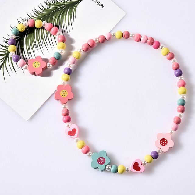 1 Set//3Pcs Cartoon rainbow wood beads girls jewelry set kids children brace ji