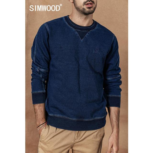 Indigo Hoodie Men 2020 Autumn Winter new Vintage washed embroidery patchwork Pullover  O-neck Plus Size cotton Hoodies