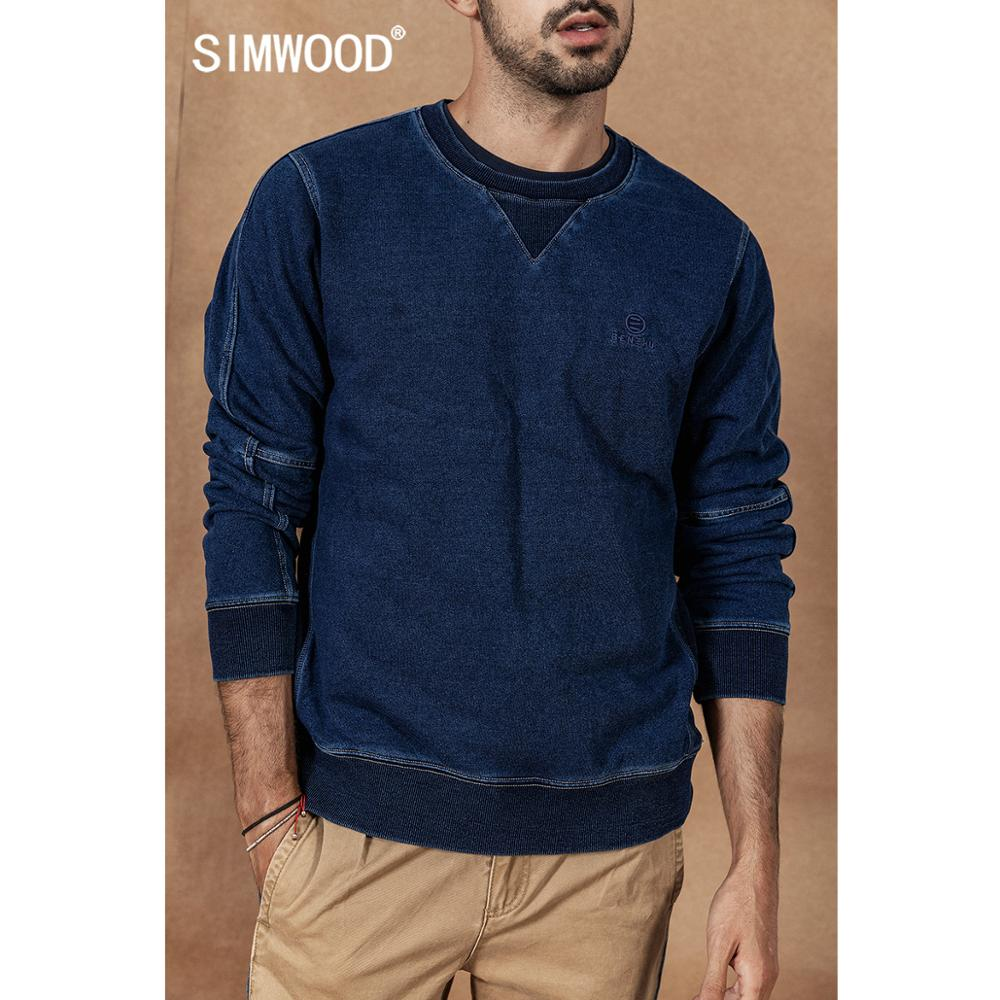 SIMWOOD Indigo Hoodie Men 2020 Spring New Vintage Washed Embroidery Patchwork Pullover  O-neck Plus Size Cotton Hoodies 19046
