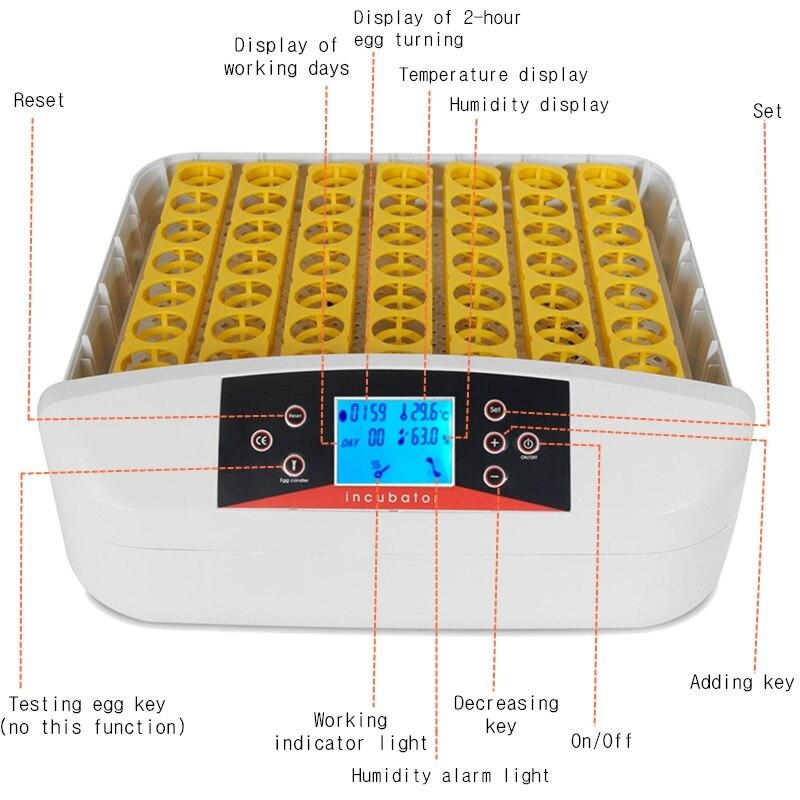 56 яиц цифровой Интеллектуальный автоматический инкубатор 80 Вт контроль температуры цифровой автоматический инкубатор Птицы полностью авт... - 3