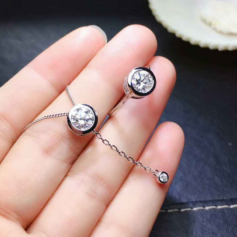 MeiBaPJ 2 karaty Moissanite diament zestaw biżuterii ze srebra próby 925 wisiorek obrączka naszyjnik 2 sztuk garnitury biżuteria ślubna dla kobiet
