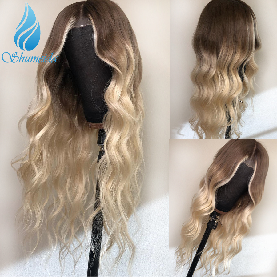 13*6 Ombre Blonde Lace Front Human Hair Wigs Pre Plucked Remy Brazilian Loose Deep Wave Wig Glueless Wigs For Black Women