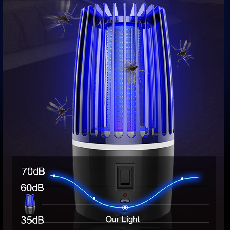 Garden Mosquito Light Rechargeable Electric Shock Mosquito Trap LED Lamp Photocatalysis Mosquito Killer Home USB Insect Trap
