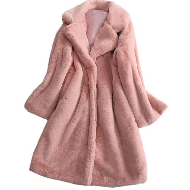 Faux Fur Coat Warm Thick Winter Long Coat Women Soft Fluffy Jacket Faux Fur Overcoat Pink White Green Grey Black Jacket Female