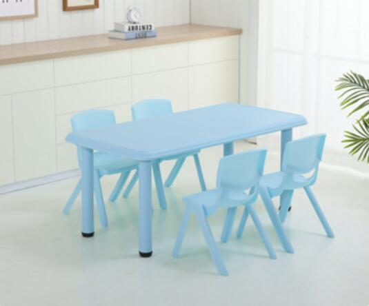 120*60cm Children Table Adjustable Height 50-53cm Kindergarten Desk With 4 Pieces Chairs