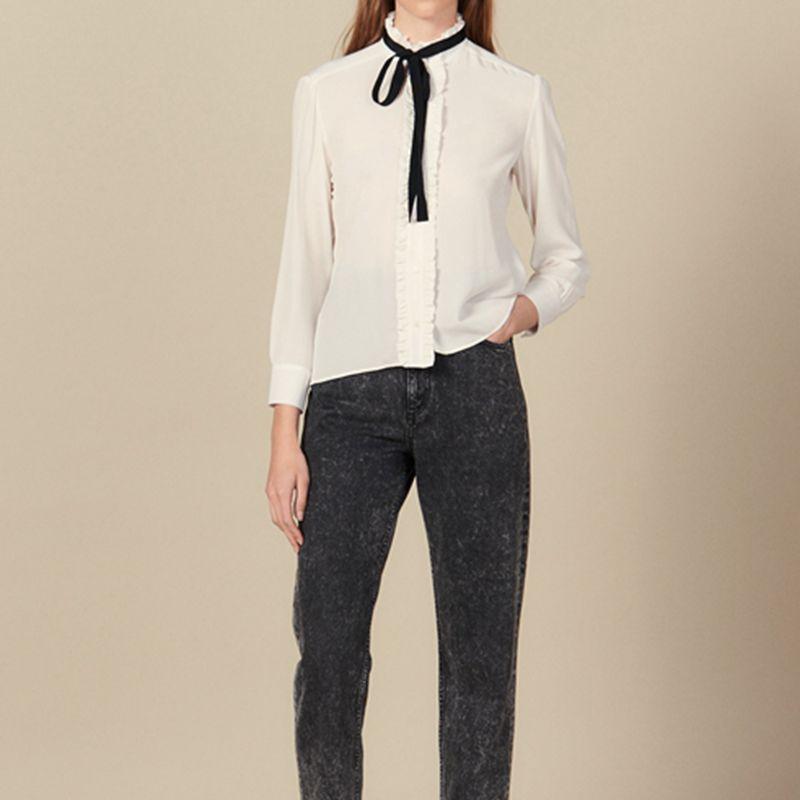 100% vraie soie femme piste chemises Blouses 2019