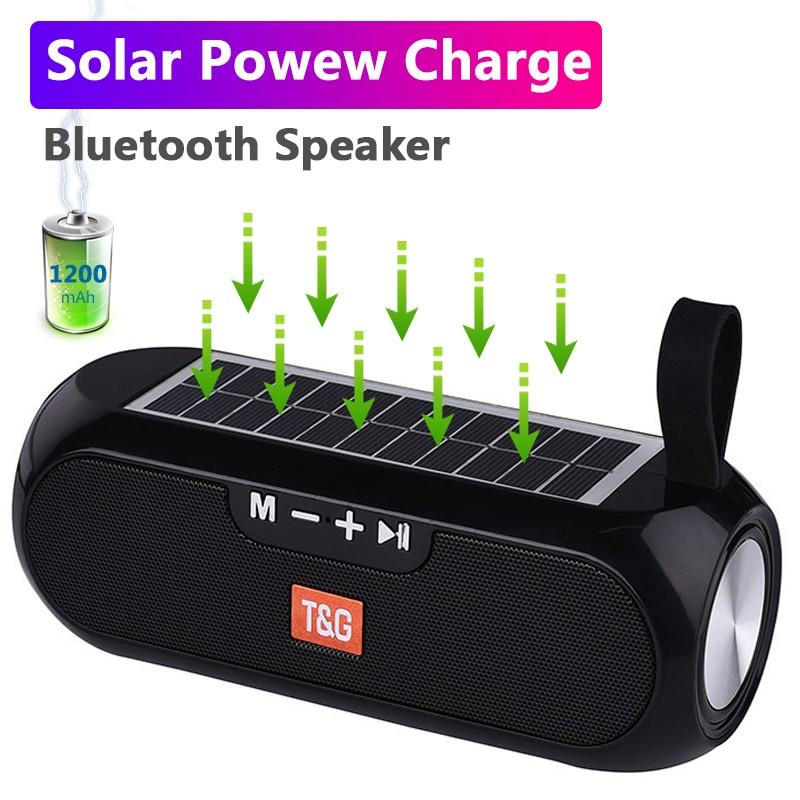 Solar charging Bluetooth Speaker Portable Column Wireless Stereo Music Box Loudspeaker Outdoor Waterproof altavoces