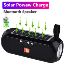Altavoz Bluetooth con carga Solar, columna portátil, inalámbrico, estéreo, para exteriores, resistente al agua
