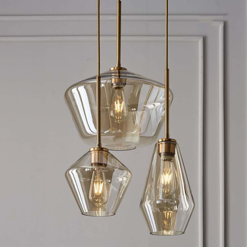 Retro Modern Glass <font><b>Pendant</b></font> <font><b>Light</b></font> Art Shades Lamp Coloured Ceiling Ball Smoked Amber Clear Vintage Loft Lamps <font><b>Bar</b></font> Decor Lamp S image