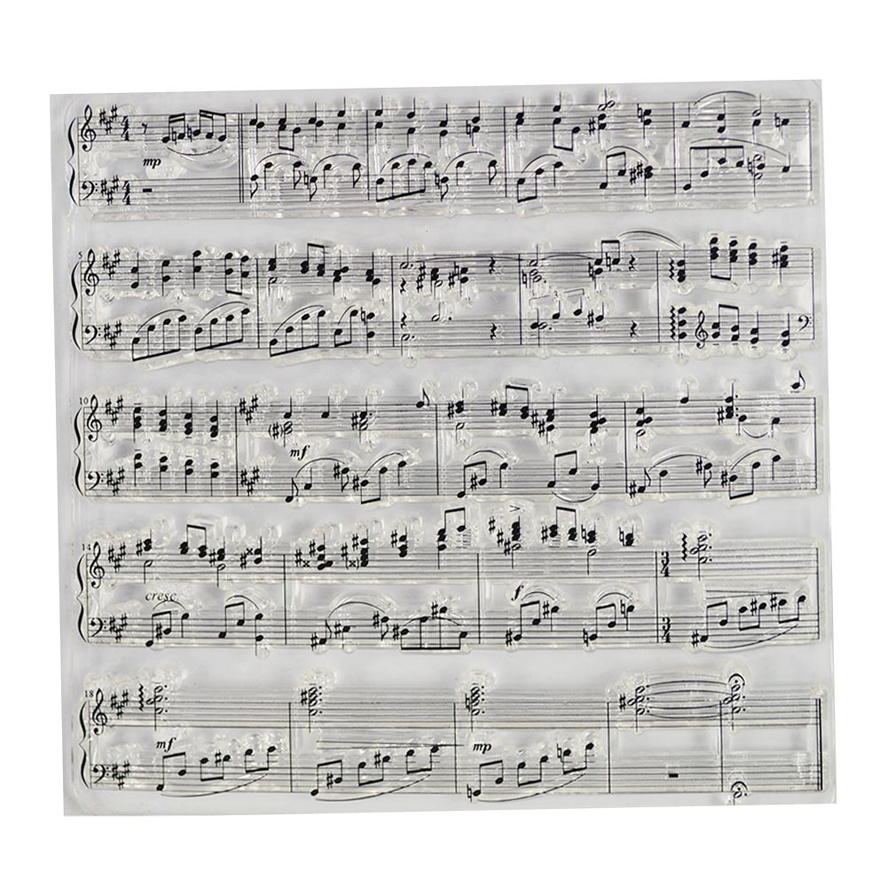 Music Notes Staff Background Transparent Clear Stamp For DIY Scrapbooking/Card Making/Kids Christmas Fun Decoration Supplies
