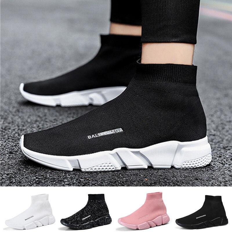 New Women's Sneakers Spring Socks Shoes Couple Light Fly-woven Walking Women Shoes