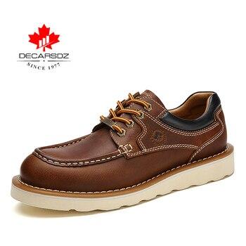 DECARSDZ Genuine leather Men Shoes Autumn New Comfy Lace-up Men Casual Shoes Man outdoor Durable outsole Men's Shoes Size 38-45 - DK-LWS-1001-3, 45