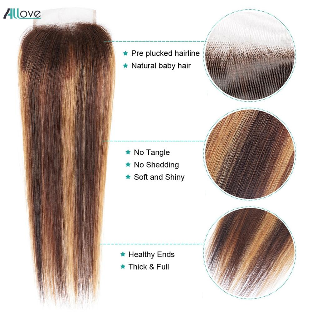 Allove Highlight Lace Closure Straight Hair Free Part 4X4 Lace Closure Non-brazilian Brown  Swiss Lace Closure 1Pc 2