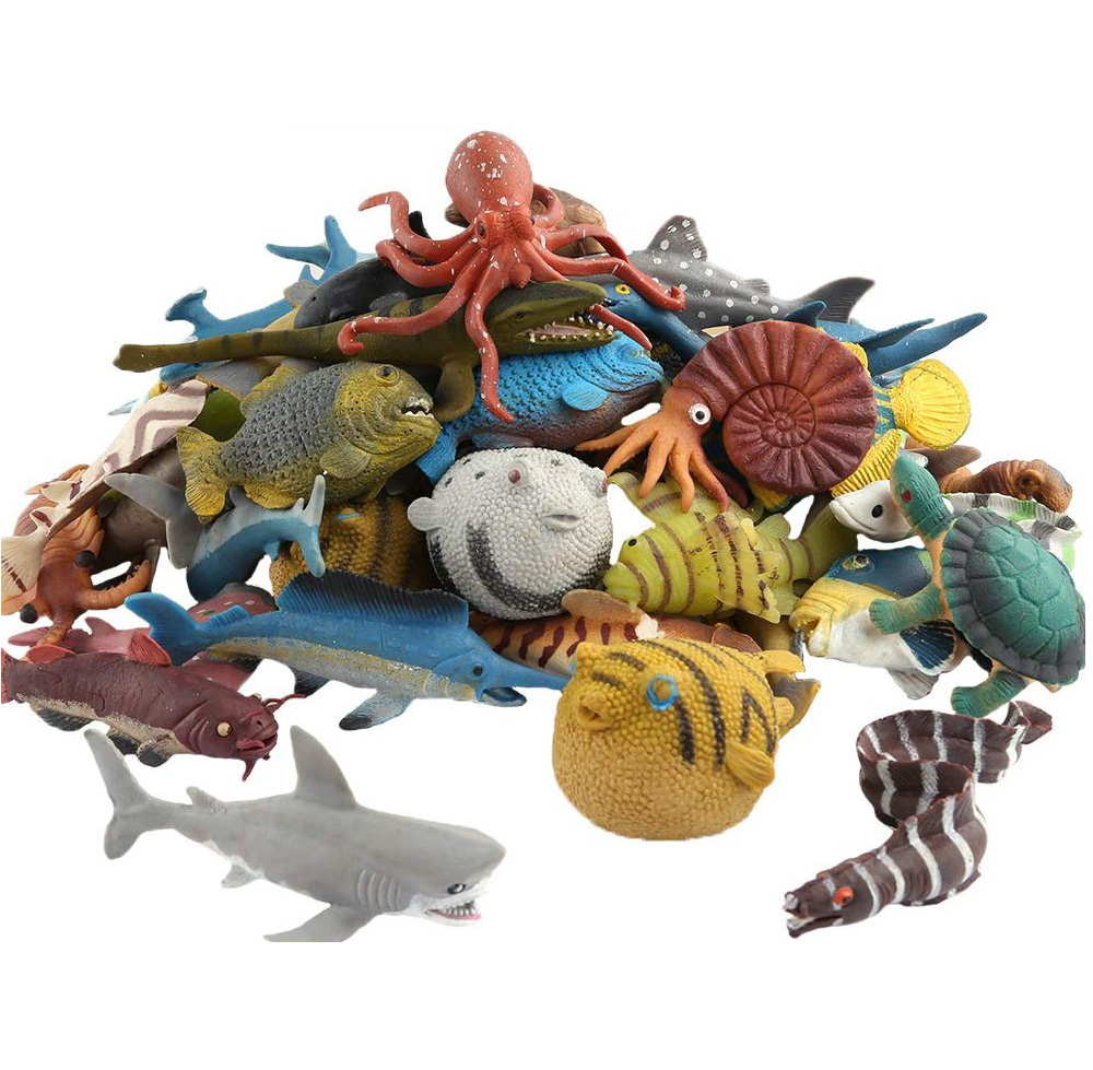 Ocean Sea Animals Turtle Sea Eel Conch Dolphin Shark Octopus Fish,Rubber Fish Model Toys Food Grade Material Super Stretch